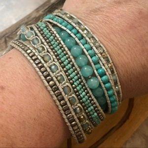 Jewelry - Nakamol Teal Beaded Genuine Leather Wrap Bracelet